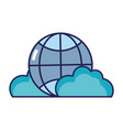 global connection technology with clouds icon vector image