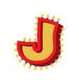 letter j lamp glowing font vintage light bulb vector image