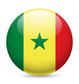 Round glossy icon of senegal vector image