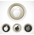 White buttons set with apple silhouette vector image