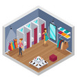 trying shop isometric interior vector image