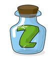 Z in laboratory bottle Letter in magical vessel vector image