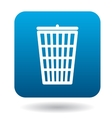 Trash can with lid icon in simple style vector image