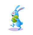 blue cartoon easter rabbit bunny with paschal egg vector image