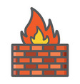 firewall colorful line icon security brick wall vector image