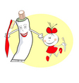 girl with a tube of toothpaste vector image