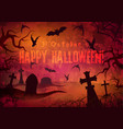 halloween poster with cemetery vector image