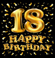 happy birthday golden texture luxurious design on vector image