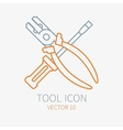 Line working color screwdriver with pliers vector image
