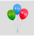 red green and blue helium balloons set isolated on vector image