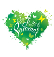 Say hello summer heart green 380 vector image