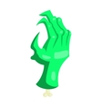 Zombie green monster hand icon cartoon style vector image