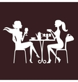 Two beautiful women sitting in a cafe vector image vector image