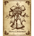 Vintage christmas card with bells vector image vector image