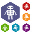 robot with big eyes icons set hexagon vector image