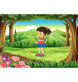 A forest with a cute schoolgirl vector image vector image