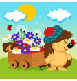 hedgehog with a wooden cart vector image