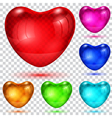 Set of transparent glossy hearts vector image
