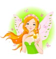 spring fairy with narcissus vector image