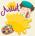 Artist holding paintbrush and plate vector image vector image