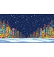 City skyline panorama winter snow landscape at vector image