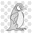 Coloring pages with King Penguin among snowflakes vector image