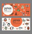 japan travel flyers placrad banners set vector image
