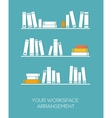 Shelves with books in flat design style vector image