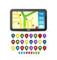 GPS device with detailed icons vector image