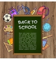 Green chalkboard with school supplies - back to vector image