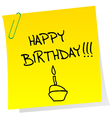 Happy birthday announcement on a sheet of paper vector image