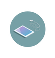 isometric white tablet with headphones 3d flat vector image