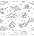 seamless pattern with space objects ufo rockets vector image
