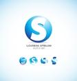 Alphabet letter s sphere logo icon set vector image