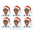 black african american men in santa hat with vector image