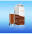 chocolate realistic with glass cup vector image