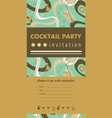 Cocktail party vertical invitation card vector image