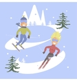 Comic concept People skiing vector image