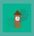 flat shading style icon christmas clock vector image