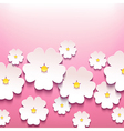 Floral greeting card with 3d flower sakura vector image