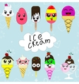Set of cute cartoon ice creams in japan kawaii vector image