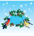 Bullfinch and tit with Christmas tree vector image