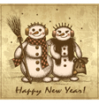 Christmas retro card with two snowmen boy and girl vector image