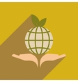 Flat web icon with long shadow Earth hands vector image