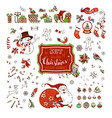 set of christmas signs symbols decorations and vector image
