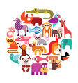 zoo animals round vector image vector image