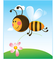 bee and flower color vector image vector image