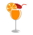 a glass of fresh orange juice vector image