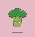 cute vegetable cartoon character broccoli icon vector image