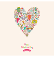 doodles heart valentines day card Kids travel vector image